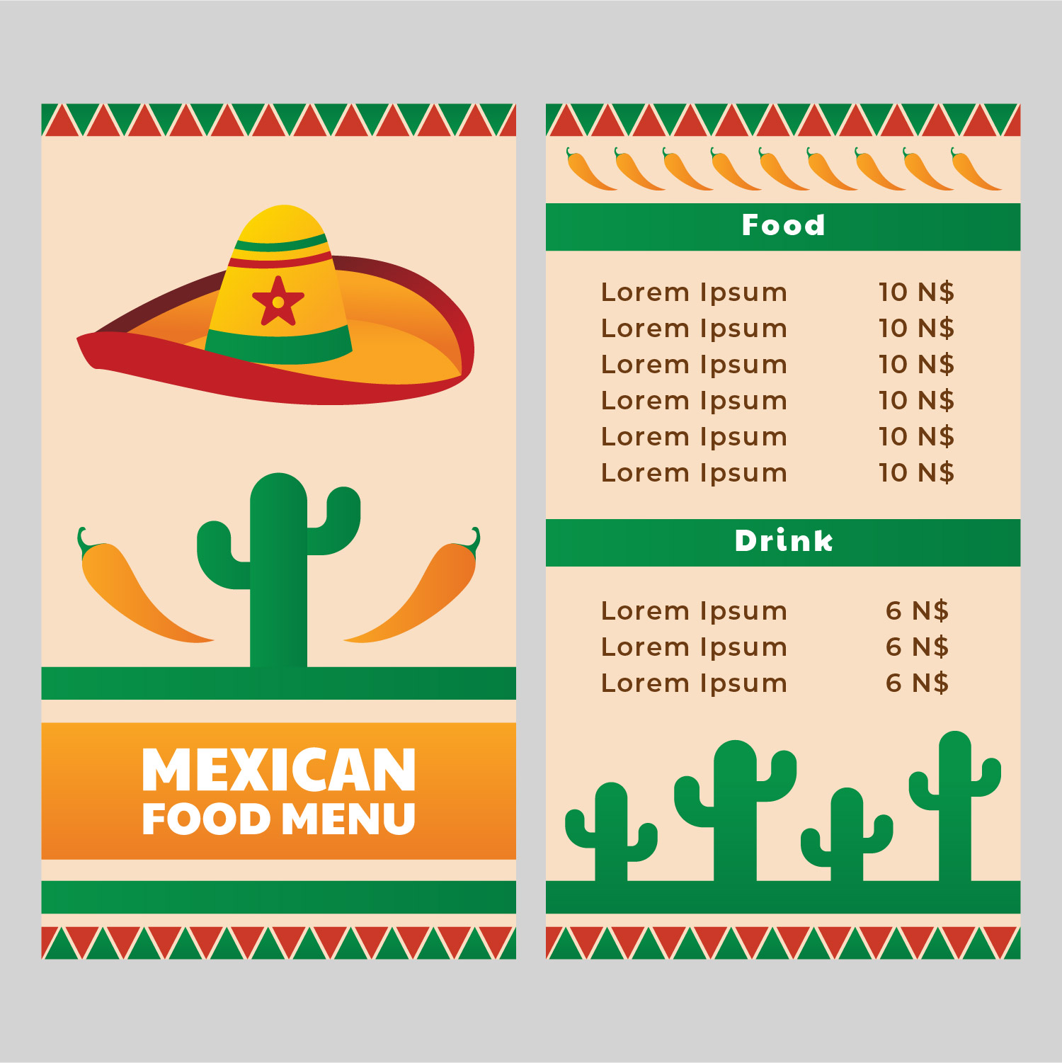 Mexican Food Restaurant Menu Template Download Free Vector Art