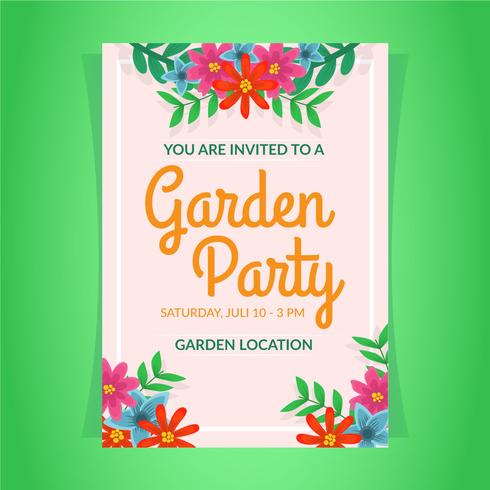 Garden Party Invitation Template vector