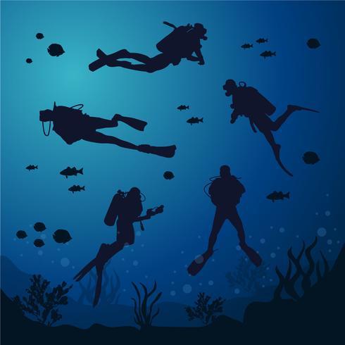Silhueta de mergulho