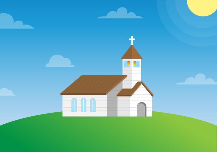 Chiesa del paese su un vettore di collina