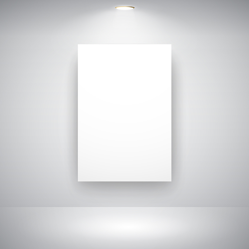 Empty Frame On Wall With Light Bulb - Download Free Vector Art ...