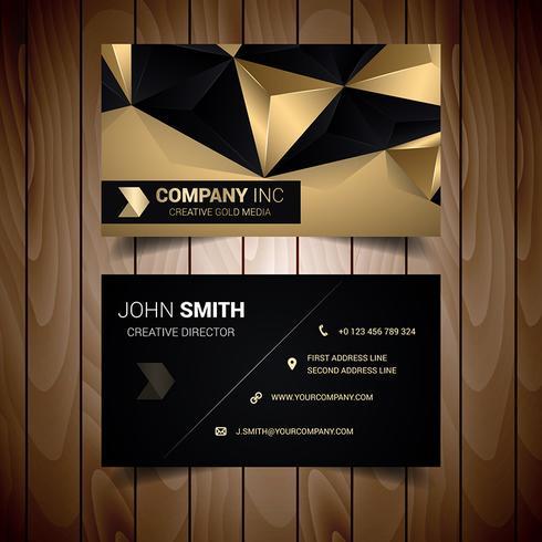 Tarjeta de visita corporativa abstracta negra y oro