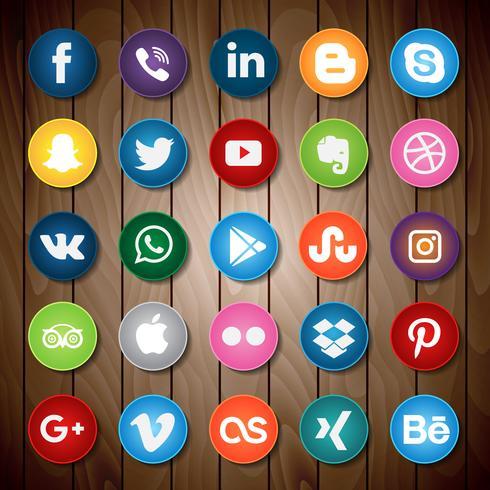 Ícone de mídia social na madeira