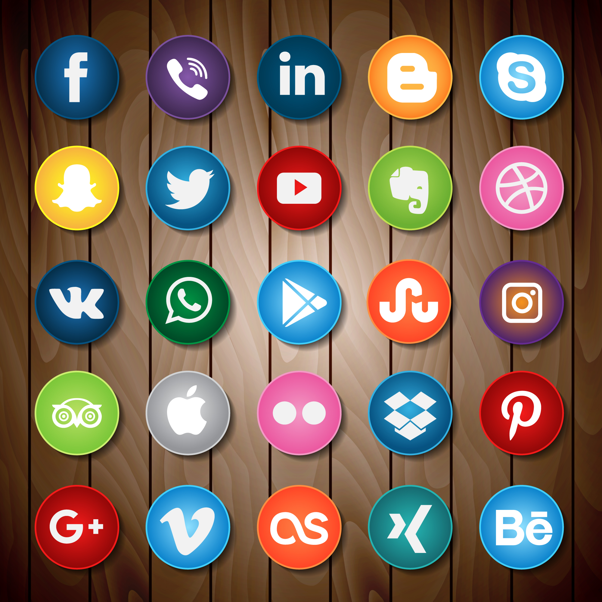 Social Media Icon On Wood - Download Free Vectors, Clipart ...