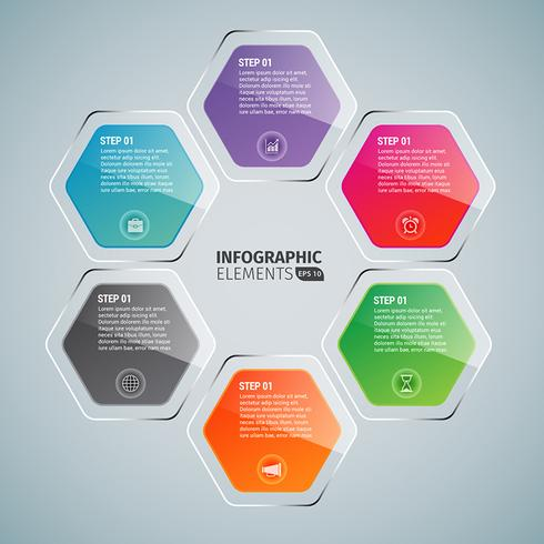 hexagon glansig infographics