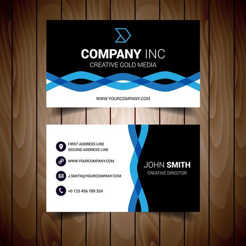 Black And Blue Wavy Corporate Business Card