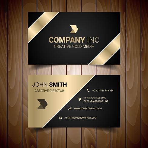 Dark And Gold Lined Corporate Business Card