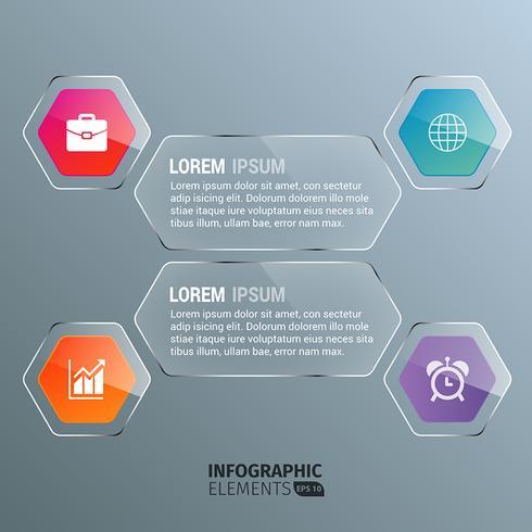 Plantilla de infografía transparente hexagonal