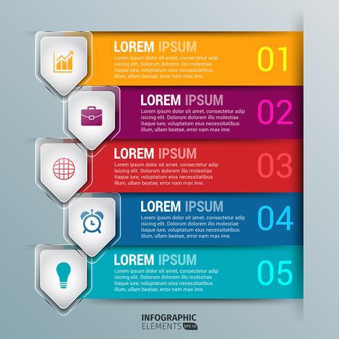 Modèle de conception infographie flèche de verre