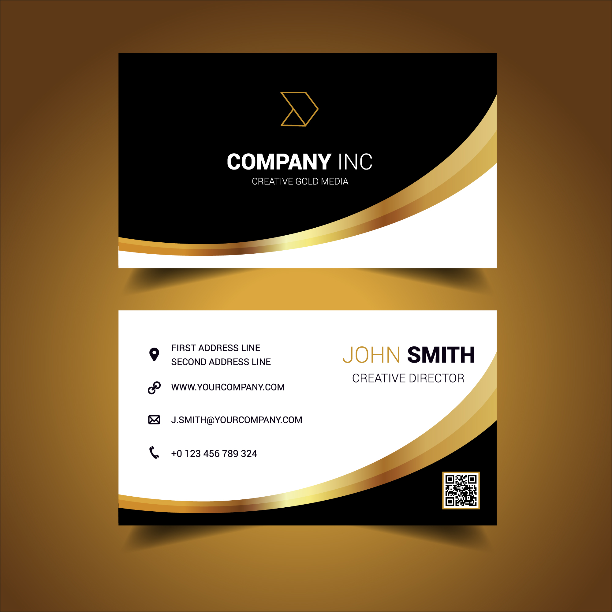 Black And Gold Curved Business Card 213019