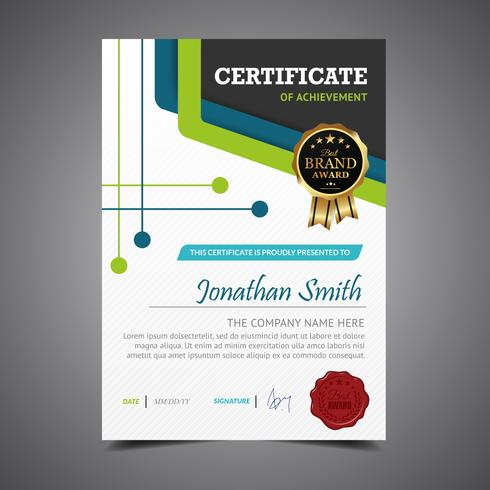 Green And Blue Diploma Template Height