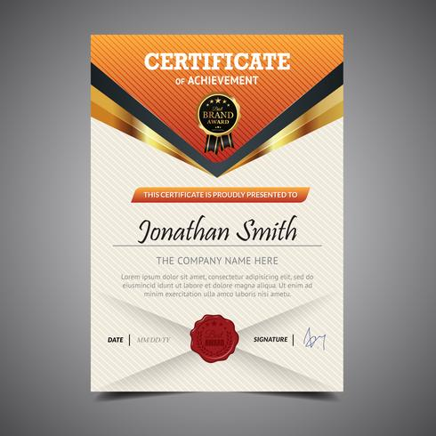 Orange Diploma Template Height