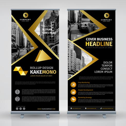 Elegant Black And Gold Business RollUp