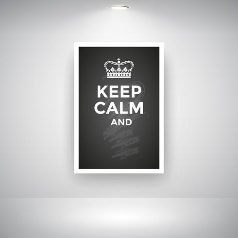 Keep Calm And On Blackboard On Wall