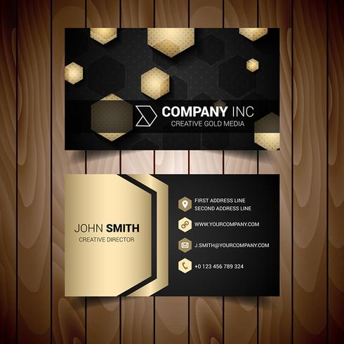 Dark And Glod Hexagonal Abstract Business Card