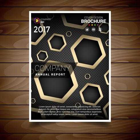 Dark And Gold Hexagonal Hole Brochure Design Template