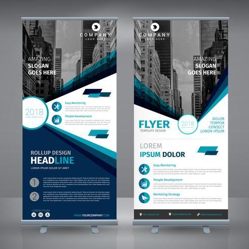 Blaue elegante Business-RollUp