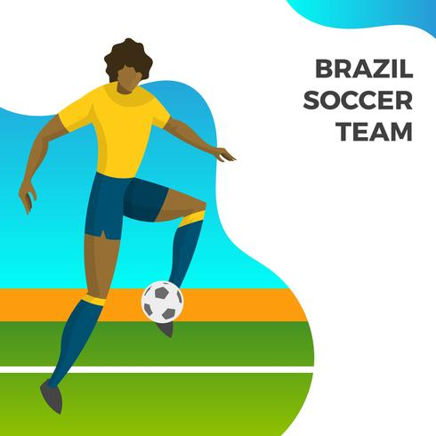 Modern Minimalist Brazil Soccer Player for World Cup 2018 shooting ball with gradient background vector Illustration