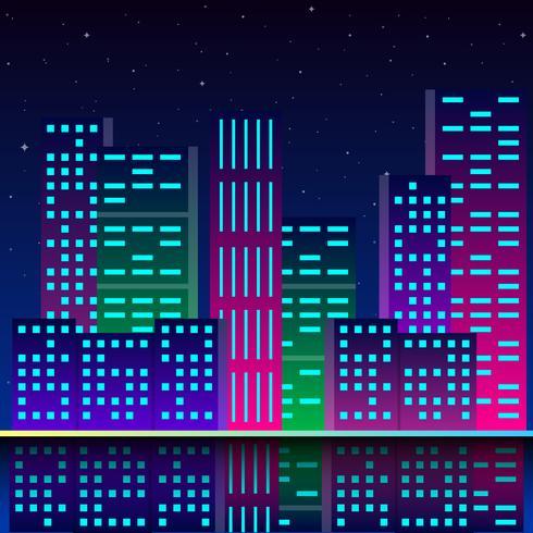 Futuristische Stadt in Neonlichtern Retro-Stil der 80er Jahre