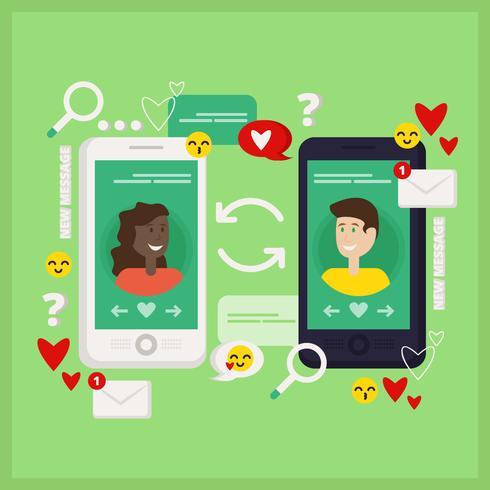Vektor-Online-Dating-Illustration