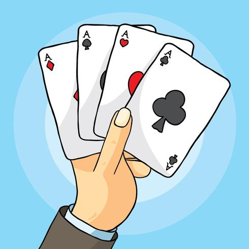 Hand With Playing Cards Vector