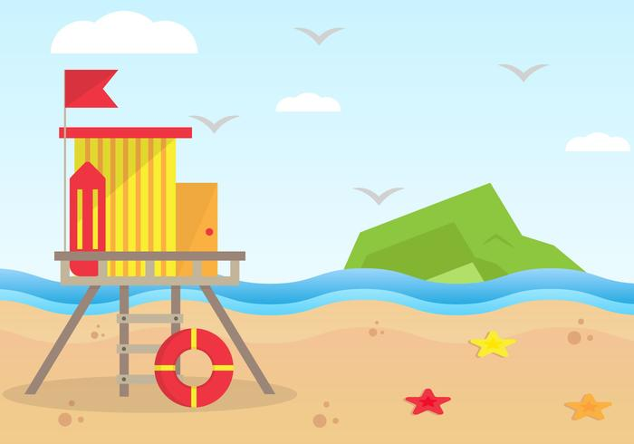Lifeguard Tower At The Beach Background Illustration