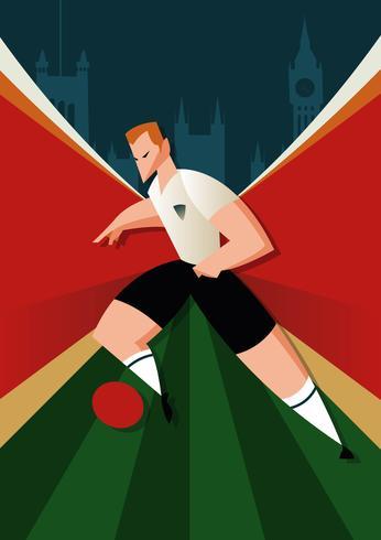 Jogadores de futebol da Copa do mundo de Inglaterra em ação