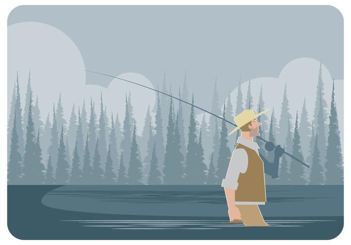 Flyga Fisherman Walking Vector
