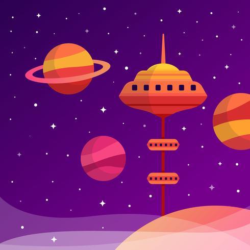 Ilustração de elevador de espaço