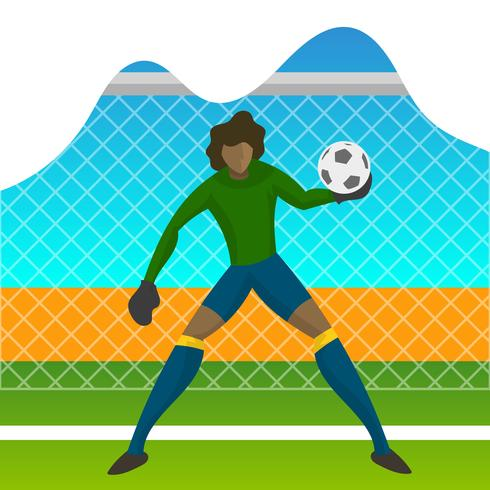Modern Minimalist Brazil Soccer Goalkeeper Player for World Cup 2018 Catch a ball  with gradient background vector Illustration