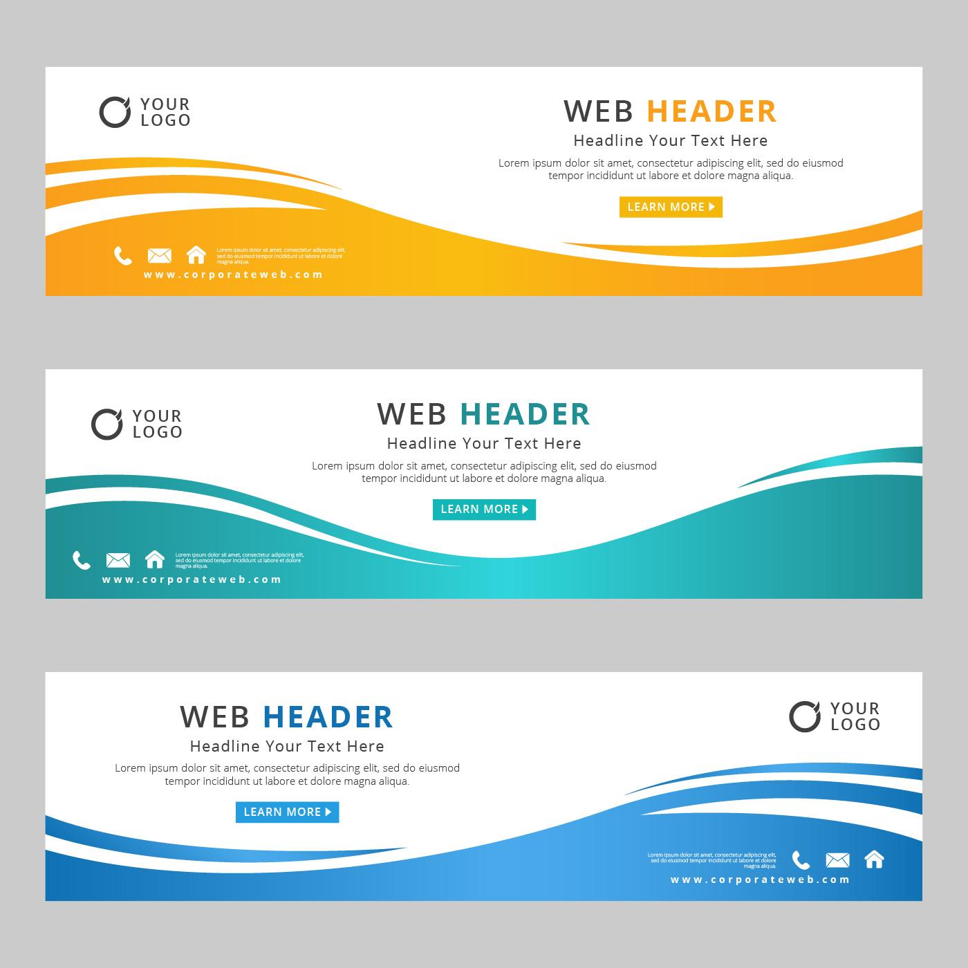 Vector Illustration Web Designs: Abstract Corporate Web Header