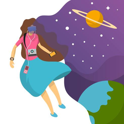 Flat Woman fall in Love with technology and her imagination background vector illustration