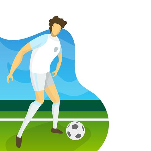 Modern Minimalist England Soccer Player for World Cup 2018 ready to shoot with gradient background vector Illustration