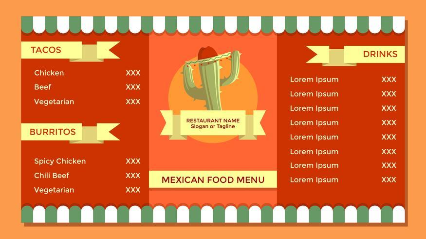 Vector de plantilla de menú de comida mexicana Vintage