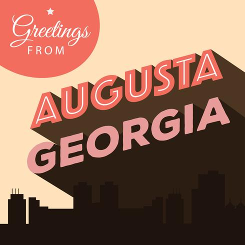 Augusta Georgia Postkarte Illustration