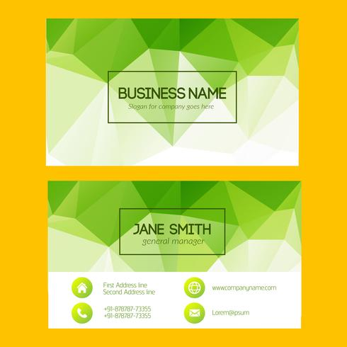Green Geometric Business Card vector