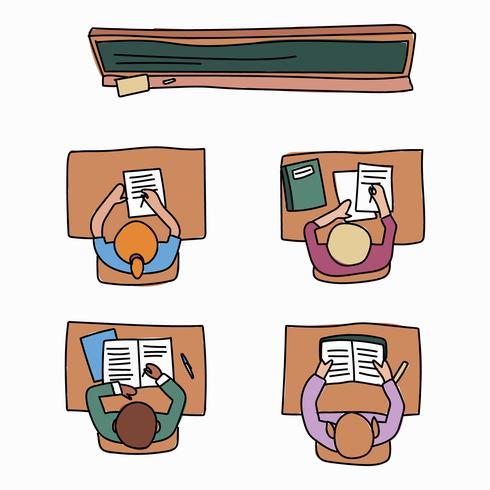 Sala de aula cheia de alunos fazendo lição de casa