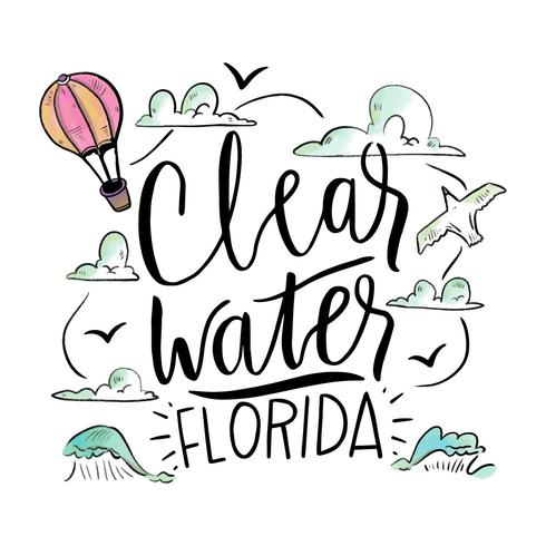 Watercolor Illustration With Waves About Clearwater Beach
