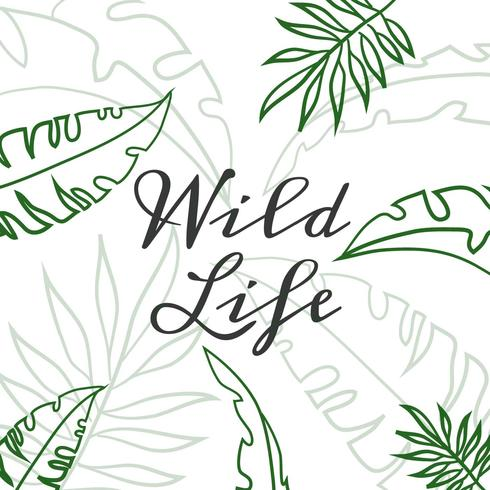 Cute Green Tropical Leaves With Quote