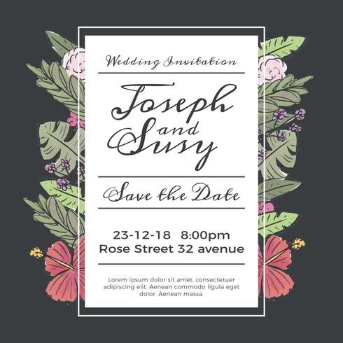Cute Wedding Save The Date Invitation With Flowers And Leaves vector