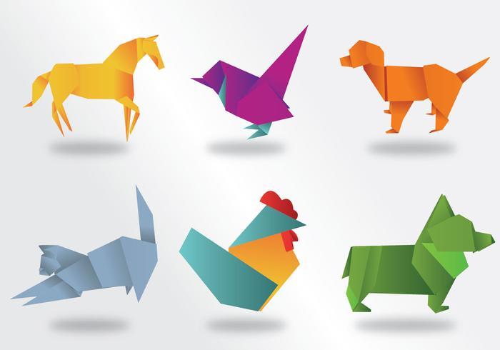 origami djur vektor pack