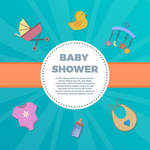 Flat Baby Shower elements with fancy background vector Illustration