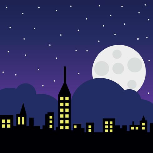 City Landscape With The Moon