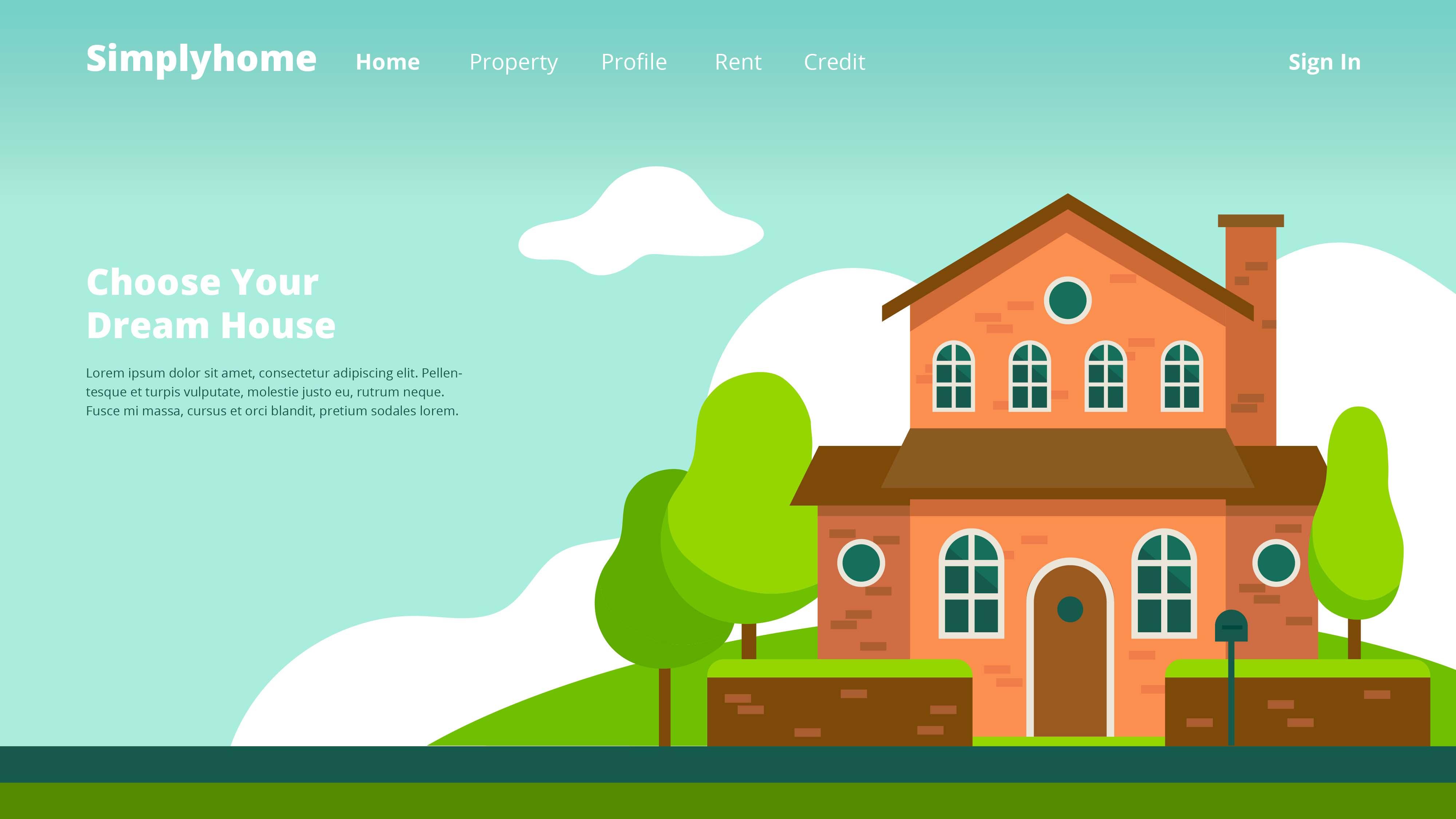 Vector Illustration Web Designs: Property Company Web Header