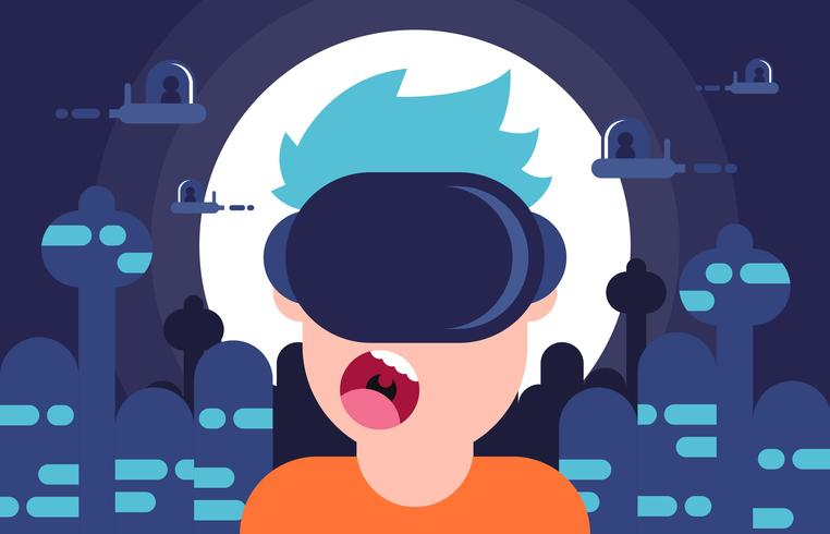 Futurisme réalité virtuelle jeu plat Illustration vecteur