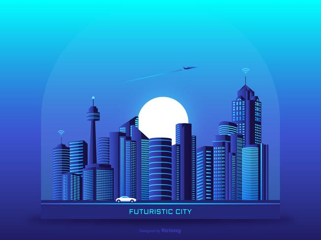 Fundo urbano vetor futurista de paisagem urbana