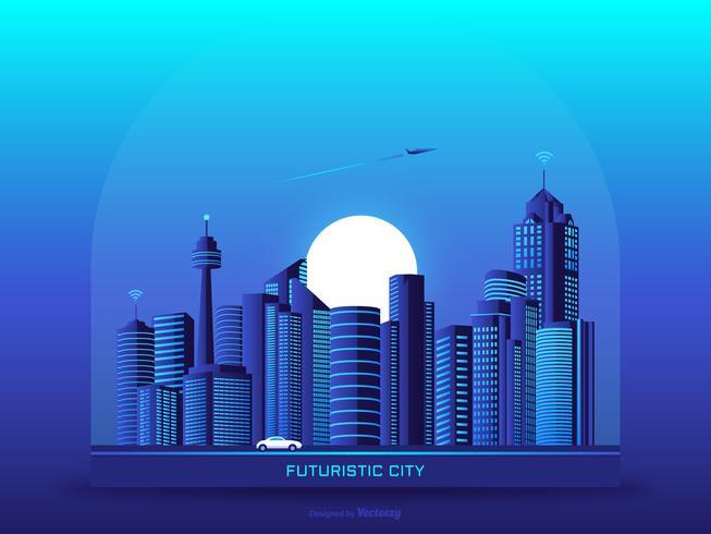 Fondo futurista del paisaje urbano urbano Vector