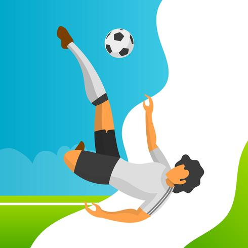 Modern Minimalist Germany Soccer Player for World Cup 2018 ready to shooting ball with gradient background vector Illustration