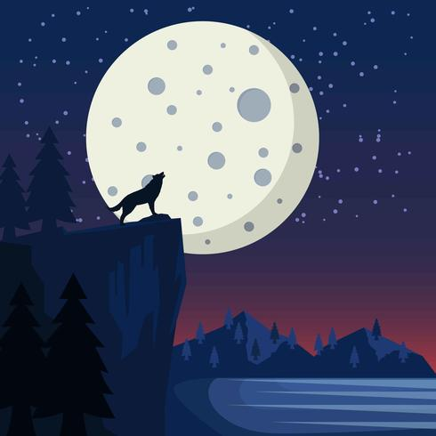 Moon Space Scape Background vector