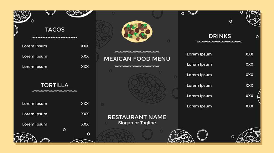 Mexican Food Menu Template Vector